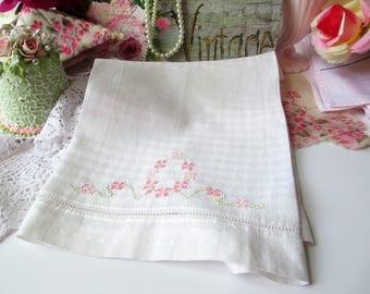 Vintage Tea Towel Embroidered Floral Pink Green - Cottage Charm