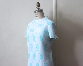 vintage 1960s ICE BLUE diamond day dress - super mod ARGYLE scooter dress - a Poinette fashion - size large to extra large, l/xl