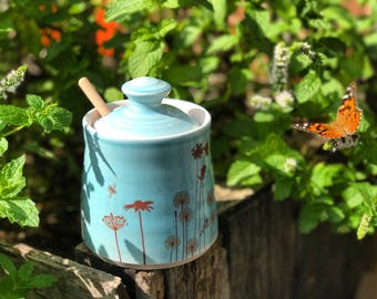 Ceramic honey pot, blue glazed honey pot,  porcelain honey jar. With bees, flowers, honeycomb and wooden honey dipper. Blue kitchen decor