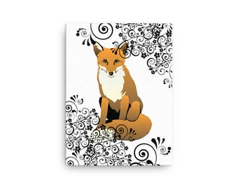 Fox & Scroll Design Wall Art Stretched Canvas Picture Foxes Woodland Creature