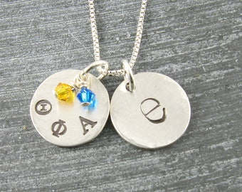 Theta Phi Alpha Necklace, ΘΦΑ Sorority Sterling Silver or 14K Gold Filled Lowercase Monogram Pendant,ΘΦΑ Bid Day,Initiation/OLP