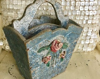 Barbola Tote Box Rose Swag Antique Sewing Crafting Caddy Roses on Top Painted Blue