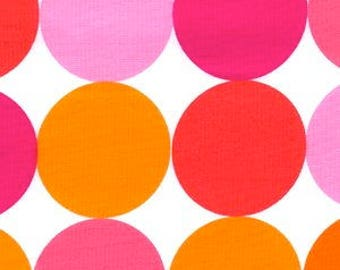 OOP Michael Miller Fabric by the Yard - Disco Dot in Flamingo - Hot Pink Orange White Designer Fabric