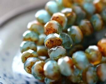 NEW! Beach And Sand - Premium Czech Glass Beads, Opaque, Transparent Amber, Blue, Aqua, White, Picasso Finish, Rondelles 9x6mm - Pc 10