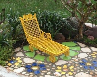 Miniature Garden Chaise Lounge for Miniature Garden, Fairy Garden, Dollhouse Garden Furniture, Sunny Yellow, One Inch Scale, Discontinued
