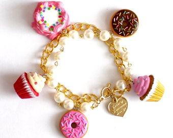 Kitsch Bakery Dessert Charm Bracelet, Pink Cupcake, Donut, Birthday Cake, Kawaii Food Jewelry, Pinup Jewelry