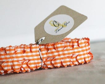 Orange Gingham Flower Trim/Ribbon
