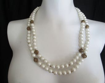 1967 double white faux Pearl Neacklace with Filigree Gold bead accents