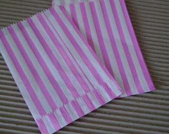 """Pink & White candy stripe paper bags,gift bags,treat party bags,foodsafe bags, favor bags,7x 5"""""""