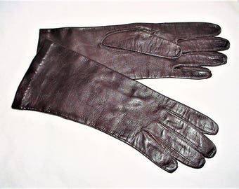Vintage 60s Brown Leather Gloves 7 1/2 Forearm Length Italy Lined