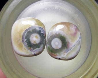 Ocean Jasper Earring Pair, Cogwheel Flower Orbs, Shades of Yellow, Raspberry,Green White