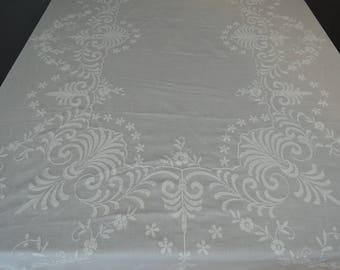 Vintage Tablecloth, Large Reverse Embroidery Cotton, 64 x 118 inches