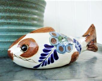 vintage mexican pottery fish catfish with floral decoration folk art tonala