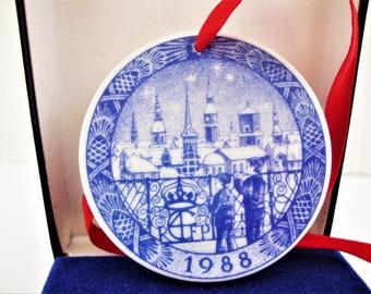 vintage royal copenhagen christmas even in Denmark ornament mini plate