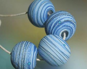 Blue Ivory Organic set - Etched Handmade Lampwork Hollow Beads Set SRA