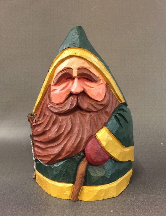 HAND CARVED original stocky Irish w/cane Santa from 100 year old Cottonwood Bark.