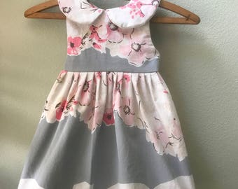 Little Girls Dress, Vintage Fabric, Vintage 1930's Tablecloth, One of a Kind, Size 3, Summer Beach Dress, Pink and Grey Print Childs Dress