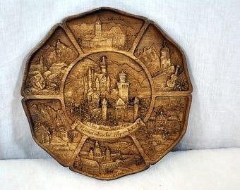 Vintage Carved Wooden Resin 3D Wall Plate Plaque Schloss Neuschwanstein / Romantische Alpenfahrt / Germany / SIc in the Original Box