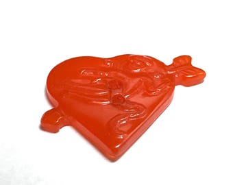 RESERVED - Vintage Bakelite Realistic Button - Heart With Arrow - Cupid - Orange - RESERVED