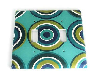 Double Light Switch Cover  Wall Decor Switchplate  Switch Plate in Turquoise Mod  (123D)