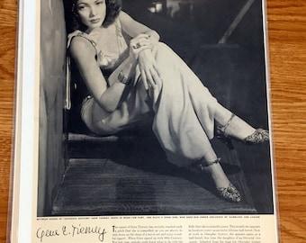 Vintage Framable Print 1941 Magazine Page Gene Tierney Actress Vintage Magazine