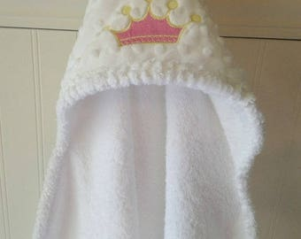 Baby Hooded Towels-EMBROIDERY-Girl-Pink-Tiara-Princess-Crown-Minky Dot-Beach-Bath-Terry-Cover Up-Cloth-HOLIDAY-Gift Set-Ready To Ship