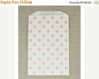 STOREWIDE SALE 20 pack Polka Dot 5 X 7.5 Inch Flat Paper Merchandise Bags