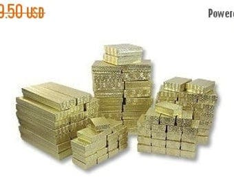 STOREWIDE SALE 100 Assorted Gold Foil Cotton Filled Jewelry Boxes