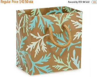 New Years Sale 50 Pack Sea Coral Recycled 4 x 2.5 x 4 inch Paper Handle Merchandise Bags
