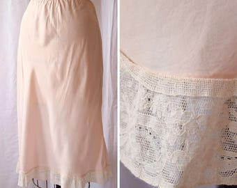 Shirley Ray | Vintage Half Slip 1940s Lingerie Pink Rayon Bias Slip with Ivory Lace Trim 40s Petticoat Underpinning Elastic Waist 2Size S