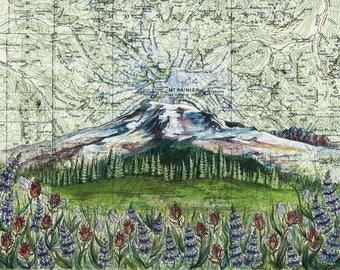 Mt Rainier Wildflowers, Mount Rainier art painting print Mountain illustration, Washington mountain print, wilderness mountain art map art