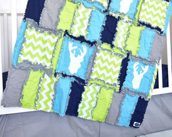 Woodland Blanket - Turquoise / Gray / Navy / Green Hunting Quilt - Deer Crib Bedding - Rustic Boy Nursery Woodland Nursery - Forest Nursery