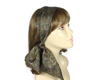 Paisley Print Head Scarf Hair Scarves Brown Green Paisley Print Scarves 50's Scarves Neck Scarves Paisley Neck Scarves Paisley Headwraps