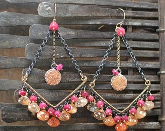 Summer SALE Sunstone chandelier earrings, Peach Druzy, Ruby chandelier gemstone earrings, oxidised 925 silver, 14k Gold filled hooks ... RA