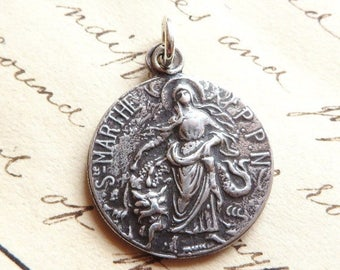 ON SALE St Martha Medal - Patron of homemakers, housewives, chefs, and cooks - Antique R