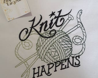 Knit Happens - Knitting Themed Embroidered Tote Bag - knitting- crochet- needlearts