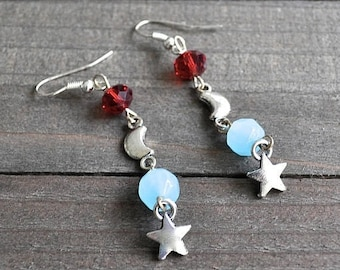 ON SALE Silver Star & Moon Earrings Celestial Artisan Design Blue Chalcedony Red Crystal Sterling Silver Ear Wires