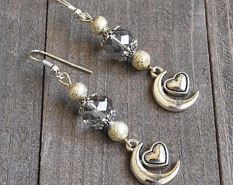 ON SALE Silver Moon & Heart Earrings Crescent Moons Platinum  Crystal Beads and Gold Stardust Beads Sterling Silver Earwires