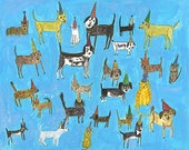 Cat and dog party.   Limited edition print by Vivienne Strauss.