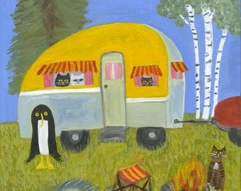 Misha goes camping. Original oil painting by Vivienne Strauss.