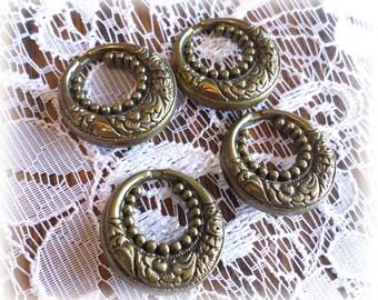 4 Unique Vintage Bronze Look Shank Buttons