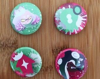 Splatoon 2 Buttons: Pearl & Marina