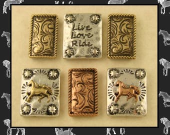 2 Hole Beads Horse Live Love Ride Engraved & Flourish Spacer Bars 3T Metal Sliders Jewelry Design Bracelet Watch Band QTY 6  (SKU 572200088)