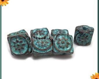 6 Mykonos Beads - Square Sun Embellishment Beads with Green Patina 7mm MK18