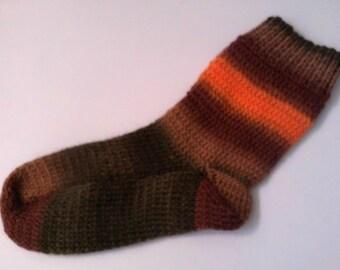 Hand Knit Hand Dyed Hand Spun  Wool Socks  Sz. Large Size 8-10 Autumn Harvest