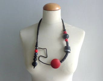Black grey red long statement necklace jewelry