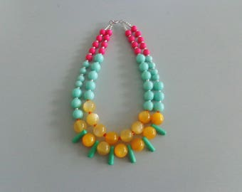 Mint necklace, yellow necklace, multi strand statement necklace