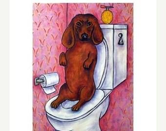 20 % off storewide Dachshund in the Bathroom Dog Art Print
