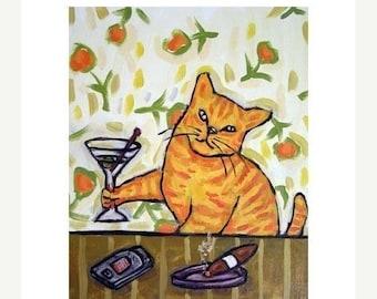 20 % off storewide Cat Having a Martini Art Print   JSCHMETZ modern abstract folk pop art AMERICAN ART gift
