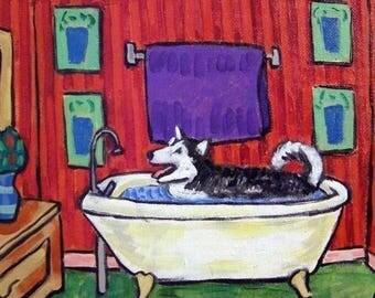 20% off storewide Malamute Taking a Bath Dog Art Tile Coaster
